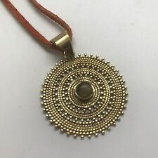 Tribal Sun Brass Pendant Necklace with Labradorite Stone on Orange Leather Cord