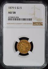 1879-S $2 1/2 LIBERTY HEAD GOLD QUARTER EAGLE, NGC AU58