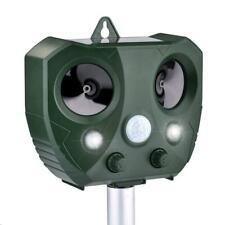 Solar Ultrasonic Animal Repeller Cat Repellent Flash LED Lights Alarm Sound