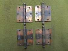 """4 Vintage Japanned Copper   MADE IN USA   Cannon Ball 3.5"""" Hinges"""