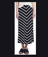 NEW RRP £49.99 Ex Marks & Spencer Per Una Striped A-Line Maxi Navy skirt  (B109)