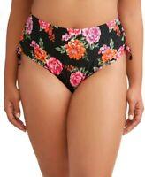 Terra & Sky Women's Plus Terra Floral Swimsuit Bottom Rich Black 1X (16W-18W) Ne