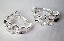 Silver tone half hoop leverback stud post earrings Approx. 2cm