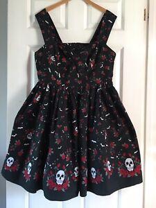 Hell Bunny Aconite Skull Bats Roses Tattoo Fit&Flare Dress Black&Red Sz 20