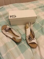 Kurt Geiger Pixie White Fabric Peep Toe Slingbacks Ladies Shoes 40 7 Bow New