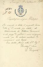 Lettera Autografo Generale Edoardo Driquet Agente Segreto Firenze a Nobili 1890