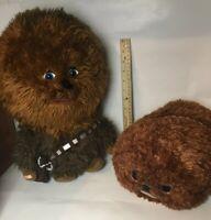 "Lot of 2 Chewbacca Plush Tsum Tsum 13"" + Big Head Star Wars 15"" Disney Store"