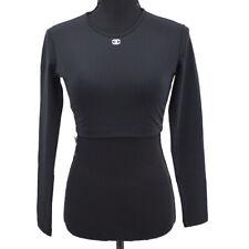 CHANEL P95 #40 CC Logos Long Sleeve Tops Swimwear Swimsuit Black Authentic 71430