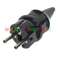 (10 Pcs) Schuko EU ø4.8mm Pin Main Power Plug 250V 16A BK