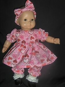 """Bitty Baby Doll Clothes Handmade For 15"""" Doll Pink Valentine Heart Dress Pantie"""