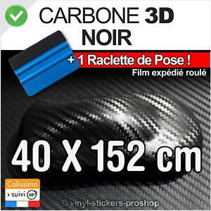 vinyle carbone 3D noir structure thermoformable adhésif 152 cm x 40 cm COVERING