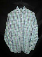 Peter Millar L Blue Gray Plaid Shirt Long Sleeve Cotton Chest Pocket Button Lg