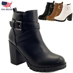 New Women's Platform Buckled Threaded Sole Chunky High Heel Ankle Boot Bootie