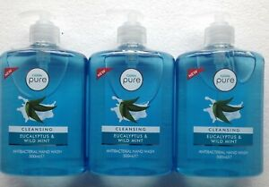 CUSSONS PURE,CLEANSING EUCALYPTUS & WILD MINT  HAND WASH 3x500ml