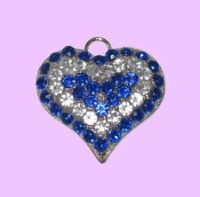 Large Royal Blue & Clear Crystal Heart Pet Dog Collar ID Tag, Jewellery, Gift