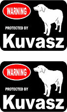 2 protected by Kuvasz dog car bumper home window vinyl decals stickers
