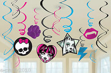 MONSTER HIGH HANGING SWIRL DECORATIONS (12) ~ Birthday Party Supplies