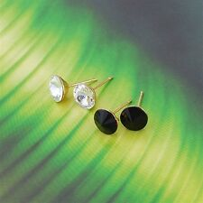 18K Yellow Gold Filled Clear CZ Stud Earrings (E-143)