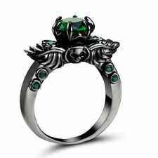 Size 9 Green Emerald CZ Engagement Ring 10KT Black Gold Plated Wedding Band
