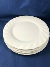 "Set of 4 Dinner Plates 10.5"" White Satin by Nikko Japan Microwave & Washer Safe"