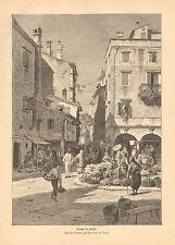 Corfu Greece, Street Market Fruit Sellers, 2pg Vintage 1893 German Antique Print
