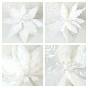 Large Velvet White Poinsettia Fur & Glitter On Clip Christmas Tree Flower Snow