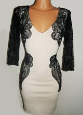 Lipsy Bodycon Dress 8 Lace Nude Black 3/4 Long Sleeve V Neck Party Wedding