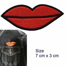 Smile iron on patch - kissing lips - happy mouth red lip symbol iron-on patches