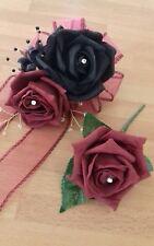 Wedding flowers wrist corsage black/burgundy rose & button hole burgundy rose