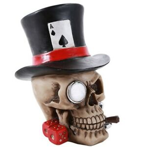 Poker Skull with Top Hat Figurine New