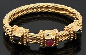 Italian 14K yellow gold chunky 3.0CT Pink & Green tourmaline bangle bracelet