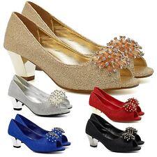 Womens Low Kitten Heel Diamante Bridal Court Shoes Ladies Peep Toe Party Wedding
