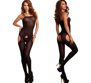 Leg Avenue Sexy Black Opaque Crotchless Suspender Bodystocking/Body Catsuit O/S