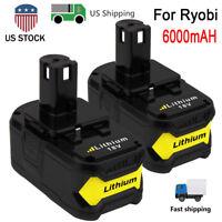 2-Pack 6.0Ah Lithium Ion Battery Pack for Ryobi 18V P108 P104 P105 P102 RB18L40