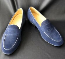 Mens Navy Blue Suede Classic Loafers Custom Shoes 42
