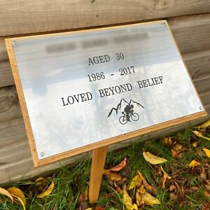 xl wooden memorial stake with 300mm x 200mm plaque engraved