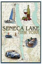 Seneca Lake New York Nautical Chart, Race Car Sailboat Ducks Modern Map Postcard