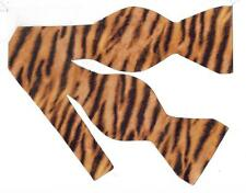 (1) Tiger Print Self-tie Bow tie - Furry Looking Tiger Stripes on Gold