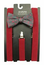 NEW ALFANI FLORAL PRE-TIE BOW TIE & FITS ALL CLIP-END RED SUSPENDERS $65