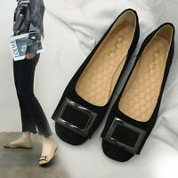 Women Ladies Fashion Solid Metal Shallow Flock Square Toe Single Casual Shoes