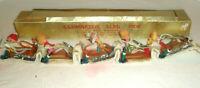 Vintage Unusual 5-Sled Figural Display Illuminated Chenille Plastic Cotton