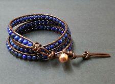 Lapis   Brown  Leather  Triple Wrap Bracelet/Anklet
