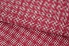 Antique plaid fabric pillow cover Kelsch cotton w/ linen backing faded red tone