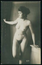 French full nude brunette woman studio pose original c1910-1920s photo postcard