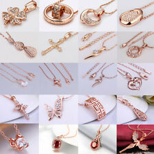 Whosesale Rose Gold plated Crystal Rhinestone Pendant Necklace Jewelry Xmas Gift