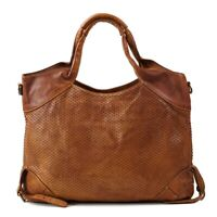 Cognac color cutting leather bag for women