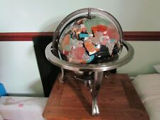 More details for globe. large heavy world globe on stand with compass, semi precious stones.