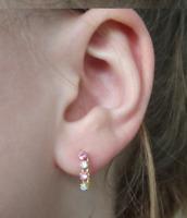 14K Gold natürliche Rubin & Diamant baumeln Ohrringe kostbar Weihnachtsgeschenk