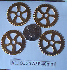 4 STEAMPUNK GOLD COGS/GEARS  MADE FROM METAL ALLOY  AND EACH PIECE IS 40mm