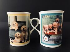 2 Danbury Mint Gorgeous Goldens Porcelain Collector Mug Going My Way Family Meal